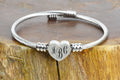 Personalized Solid Stainless Steel Bypass Heart Cable Bracelet - INTERLOCKING MONOGRAM