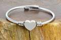 Personalized Solid Stainless Steel Bypass Heart Cable Bracelet - MONOGRAM
