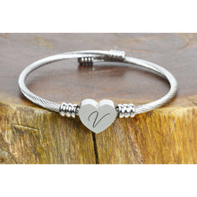 Load image into Gallery viewer, Heart Cable Initial Bracelet