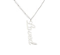 Vertical Cutout Inspirational Necklace in Brushed Stainless Steel
