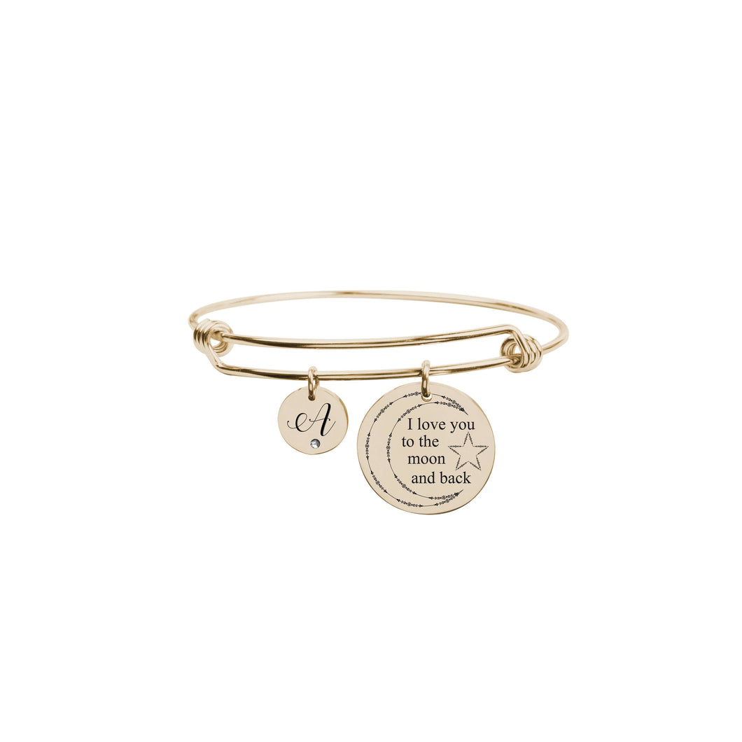 I Love You To The Moon Initial Bangle With Cubic Zirconia
