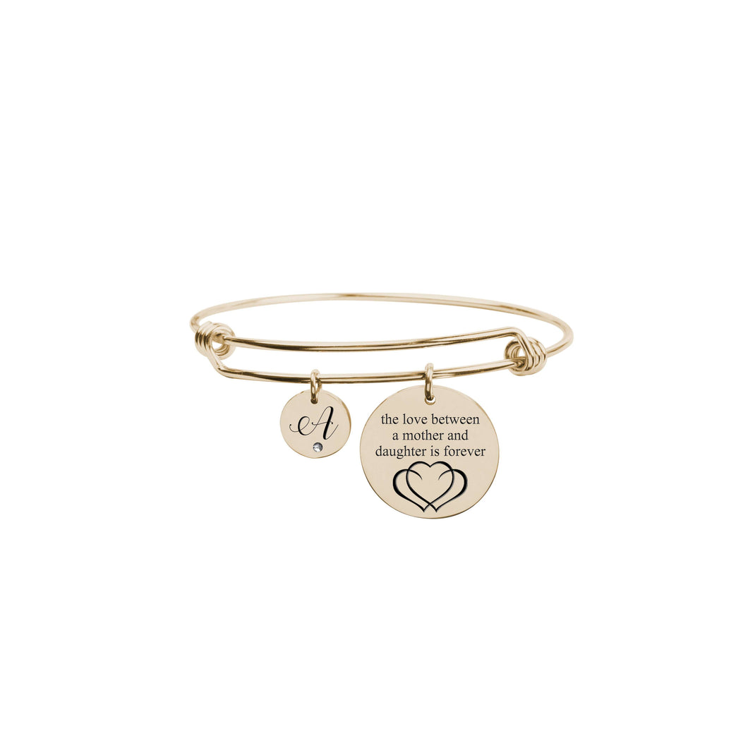Love Between Mother Initial Bangle With Cubic Zirconia
