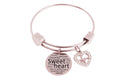 Expandable Hearts Inspirational Bangle with Cubic Zirconia by Pink Box