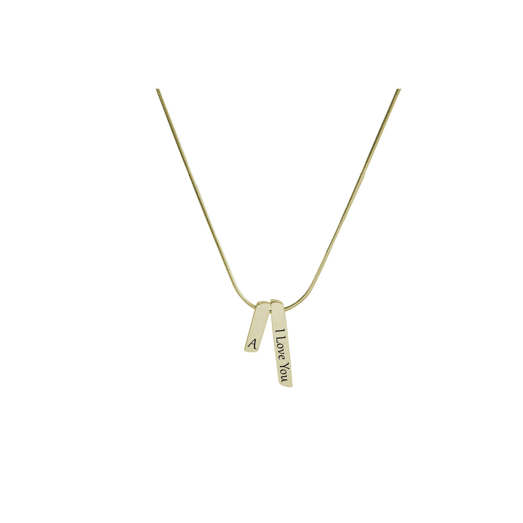 Double Bar Initial Necklace By Pink Box