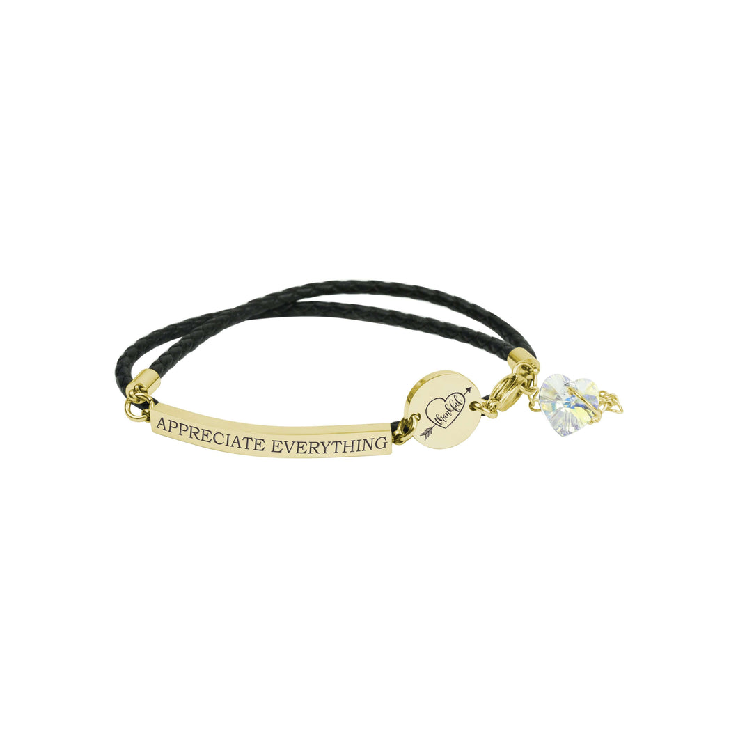Genuine Inspirational Leather Bracelet made with Swarovski by Pink Box