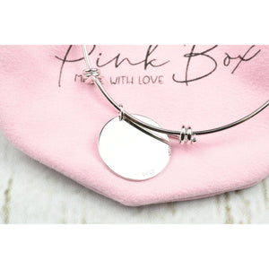 Solid Sterling Silver Inspirational Bangle By Pink Box