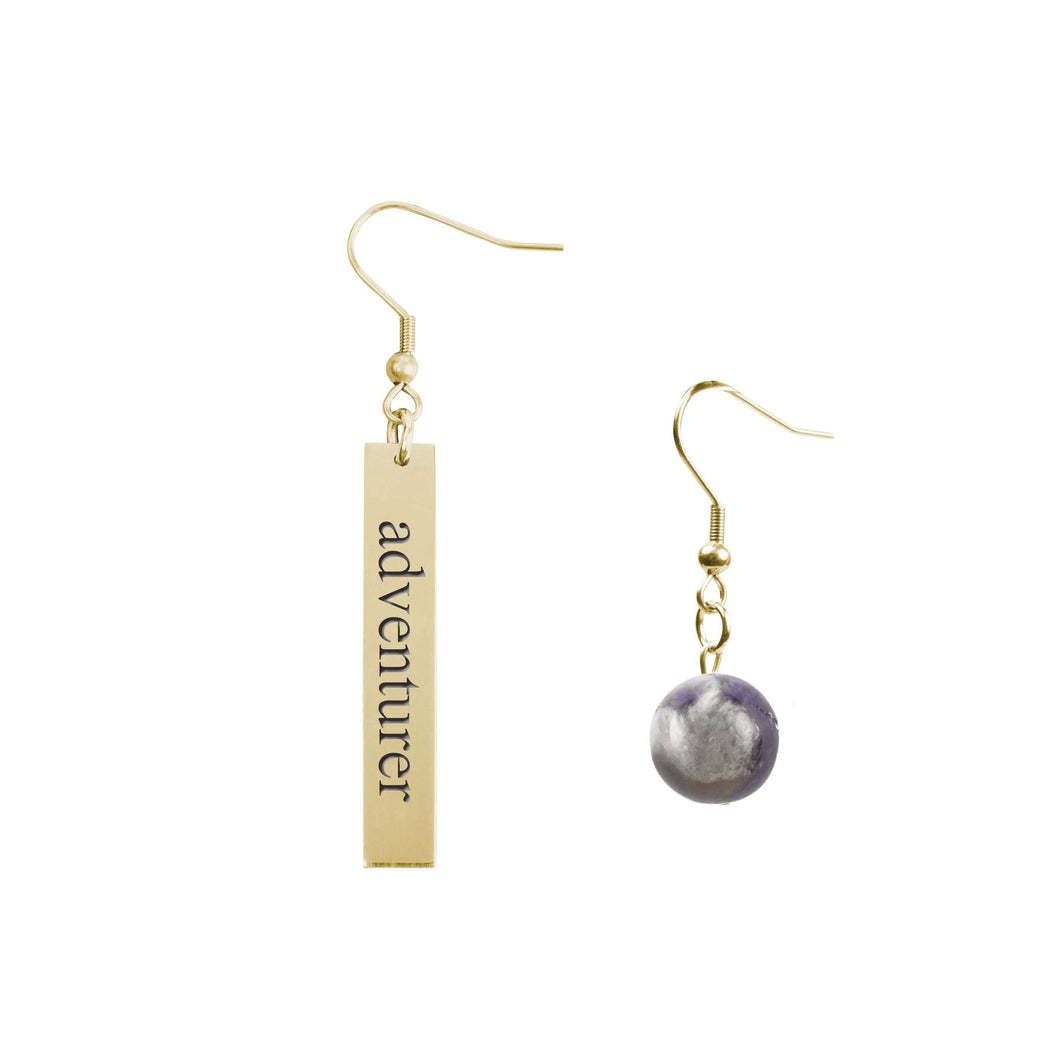 Genuine Amethyst Mis-matched Inspirational Earrings