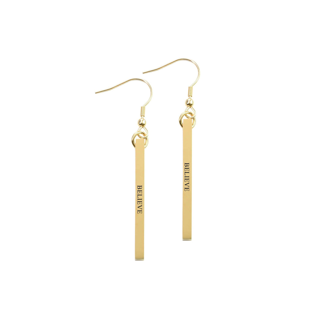 Solid Stainless Steel Inspirational Bar Earrings