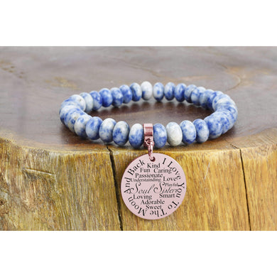 Mother Pink Box Genuine Sodalite I Love You to The Moon Oval Gemstone Bracelet Gold