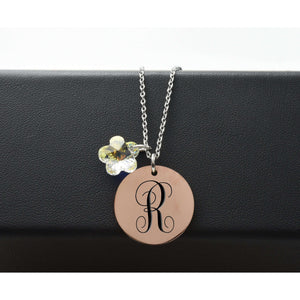 Two-Tone Monogram Initial Necklace Made With Swarovski By Pink Box