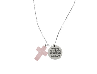 Bible Scripture Necklace With Natural Quartz Cross Gemstone By Pink Box