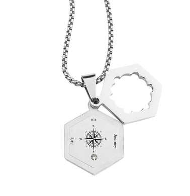 Life Compass Double Hexagram Necklace with Cubic Zirconia by Pink Box
