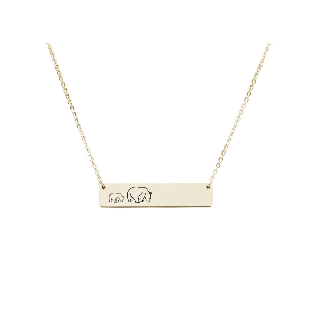 Horizontal Bar Mama Necklace by Pink Box