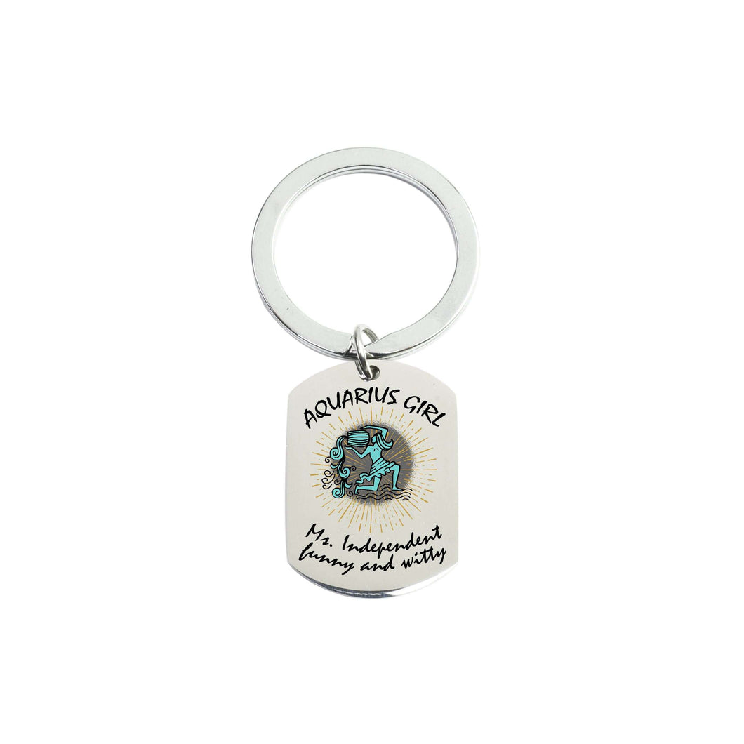 Solid Stainless Steel Tag Zodiac Sign Keychain By Pink Box