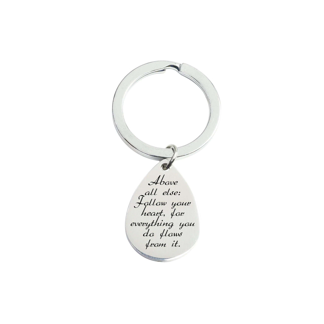 Solid Stainless Steel Teardrop Inspirational Keychain By Pink Box