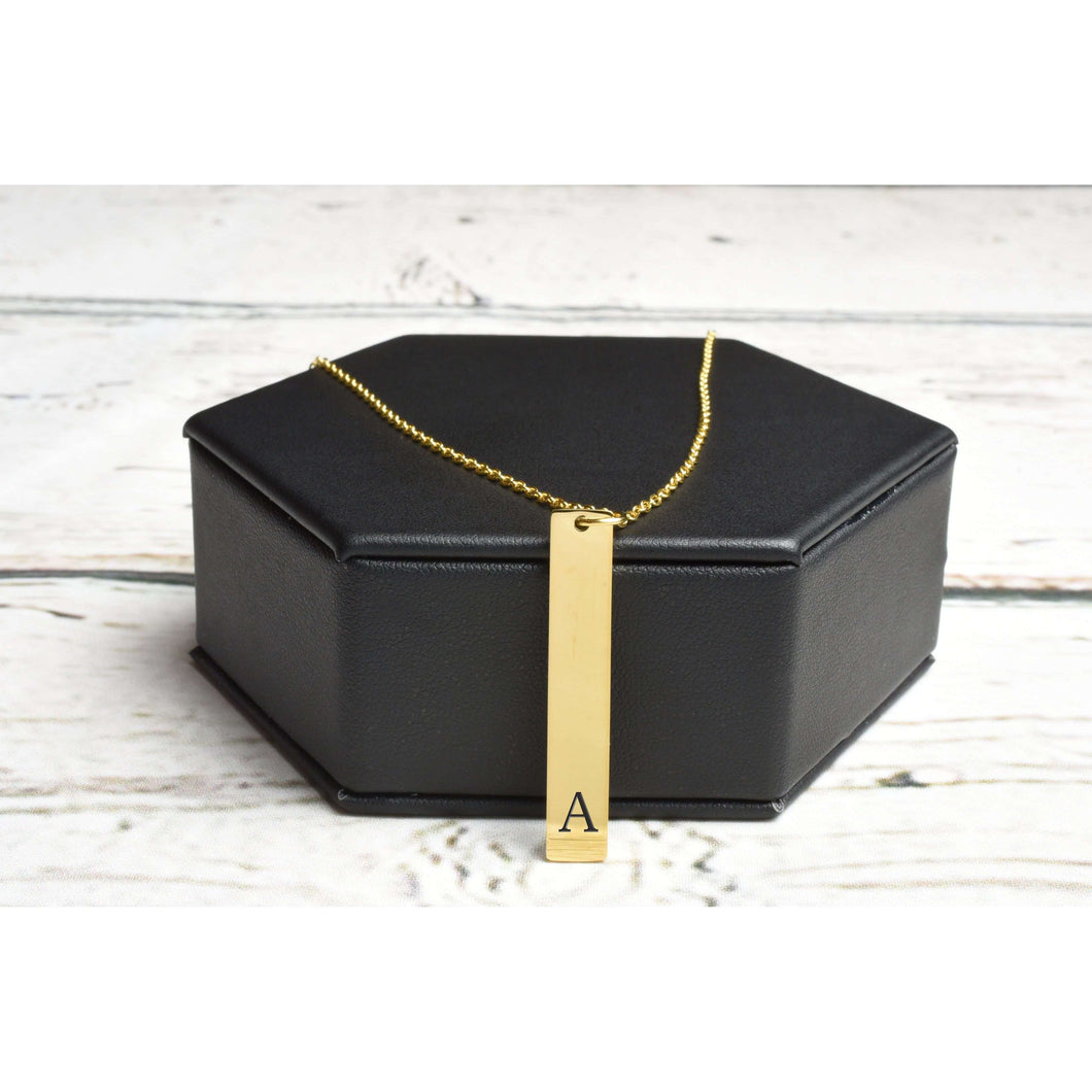 Vertical Initial Bar Necklace by Pink Box - Multiple Colors Available
