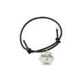 Genuine Leather Bracelet with Brushed Stainless steel honeycomb charm