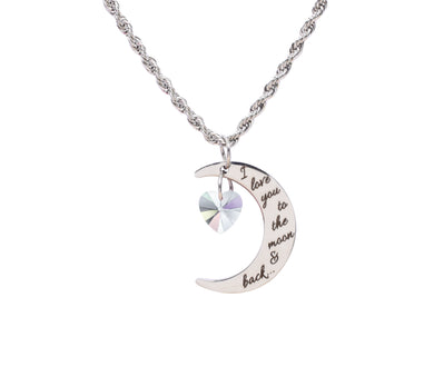 Love You To The Moon Necklace Made With Crystals From Swarovski by Pink Box