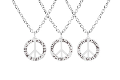 Fully Adjustable Inspirational Peace Sign Necklace By Pink Box