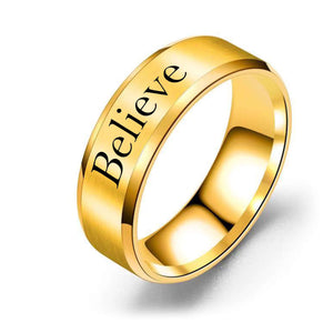 8mm Solid Stainless Steel Comfort Fit Ring in Black  - Believe
