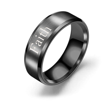 8mm Solid Stainless Steel Comfort Fit Ring in Black - Faith