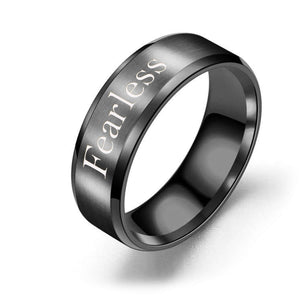 8mm Solid Stainless Steel Comfort Fit Ring in Black  - Fearless