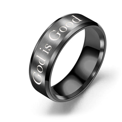8mm Solid Stainless Steel Comfort Fit Ring in Black - God is Good