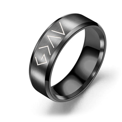 8mm Solid Stainless Steel Comfort Fit Ring in Black - God is Greater