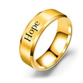 8mm Solid Stainless Steel Comfort Fit Ring in Gold by Pink Box