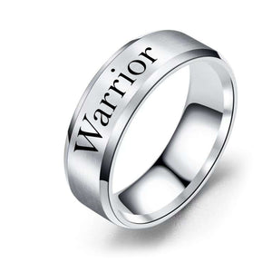 8mm Solid Stainless Steel Comfort Fit Ring in Black  - Warrior