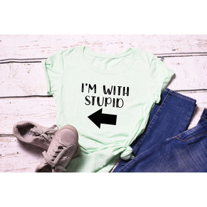 Fun Graphic Tee By Pink Box - I'M WITH STUPID - LEFT ARROW