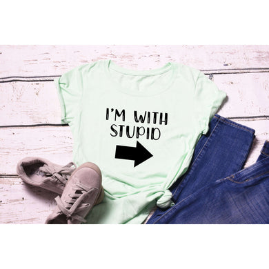 Fun Graphic Tee By Pink Box - I'M WITH STUPID - RIGHT ARROW