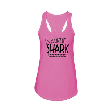 Shark Family Cotton Blend Racerback Tank By Pink Box - Auntie Shark