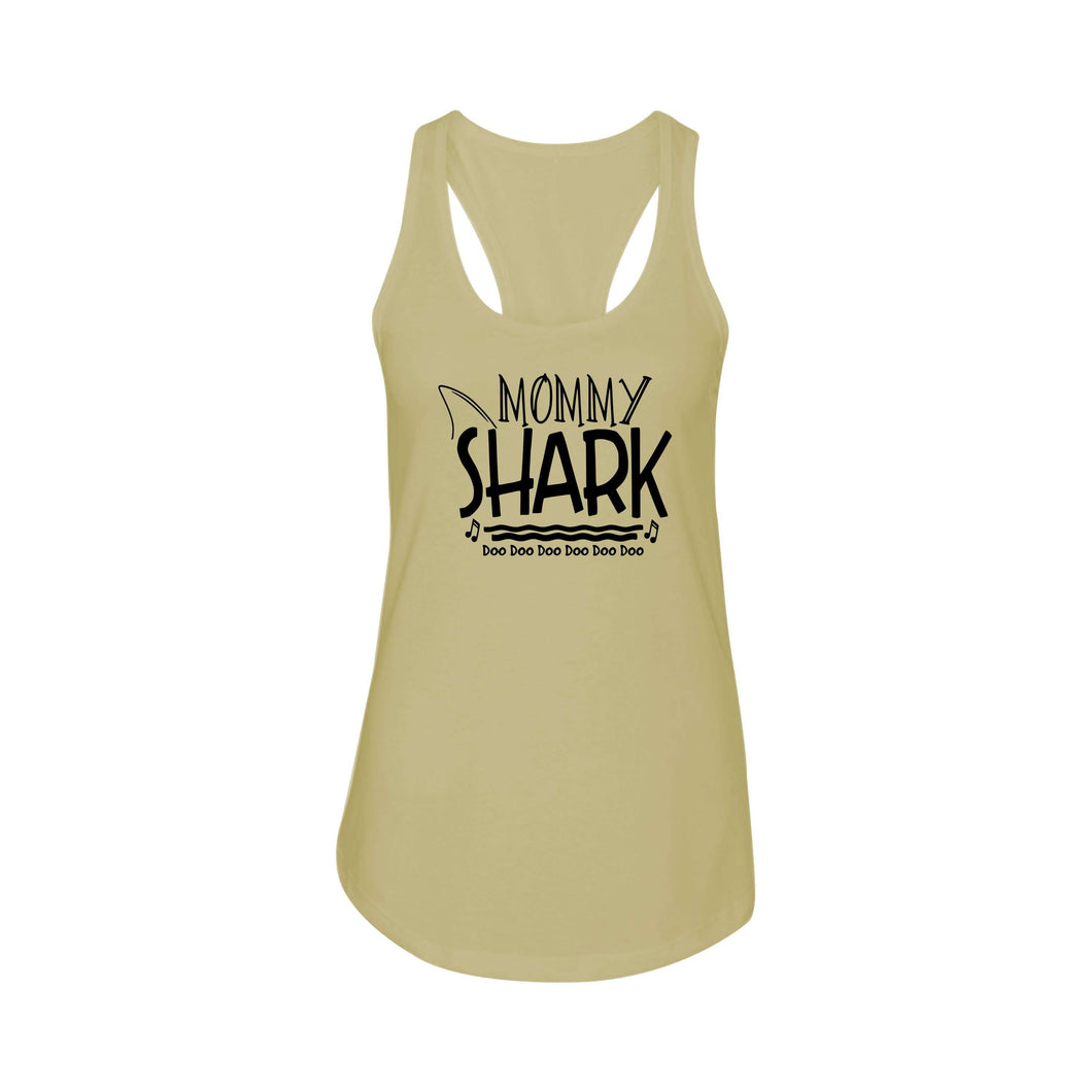 Shark Family Cotton Blend Racerback Tank By Pink Box - Mommy Shark
