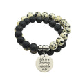 Genuine 10mm Double Layer Obsidian Dalmatian Inspirational Bracelet by Pink Box