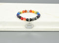 Women's Natural Gemstone Football Chakra Stretch Bracelet By Pink Box