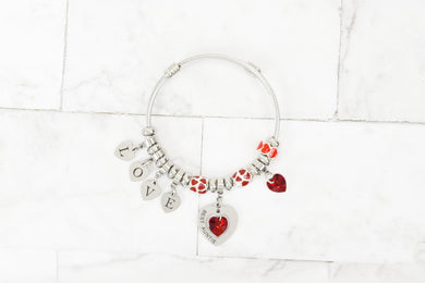 Women's Love Heart Charmed Bracelet Made With Precision Cut Crystals By Pink Box