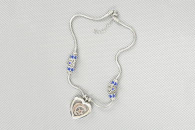 Women's Blue Tone Initial Charmed Heart Locket Necklace By Pink Box