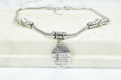 Womens Oval Bible Verse Necklace With Cross Charm By Pink Box