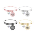 Personalized Solid Stainless Steel Expandable Wire Bangle With Swarovski Crystal - INTERLOCKING MONOGRAM