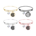 Personalized Solid Stainless Steel Expandable Wire Bangle With Swarovski Crystal - ROUND MONOGRAM