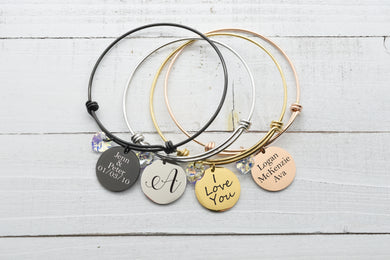 Personalized Adjustable Wire Bangle Made With Swarovski Crystal