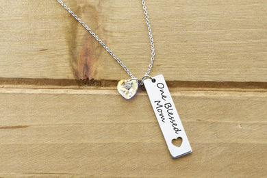Personalized Vertical Bar With Heart Cutout Necklace Made With Swarovski Crystal