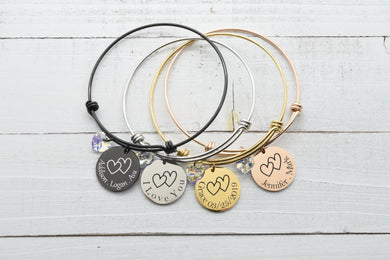 Personalized Adjustable Wire Bangle Made With Swarovski Crystal - Hearts
