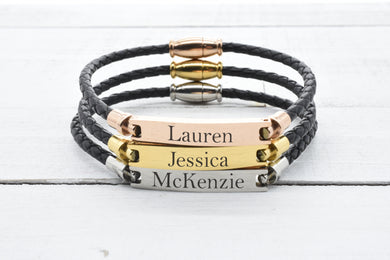 Personalized Genuine Leather Magnetic Bracelet