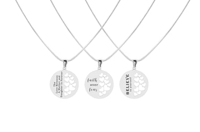 Solid Stainless Steel Inspirational Hearts Pendant Necklace by Pink Box