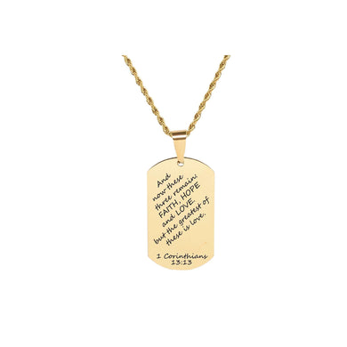 Stainless Steel Stylish Scripture Tag Necklace In Gold By Pink Box