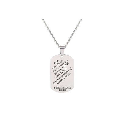 Stainless Steel Stylish Scripture Tag Necklace In Silver By Pink Box