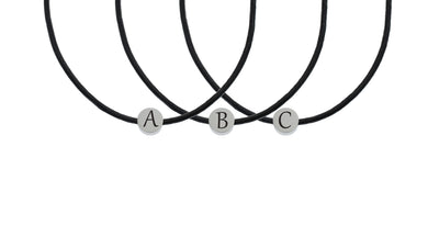 Genuine Round Initial Leather Necklace By Pink Box Made With Swarovski