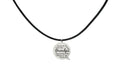 Leather Necklace With Brushed Speech Bubble Stainless Steel Pendant by Pink Box